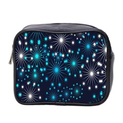 Digitally Created Snowflake Pattern Background Mini Toiletries Bag 2 Side by Nexatart
