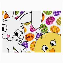 Easter Bunny And Chick  Large Glasses Cloth (2 Side) by Valentinaart