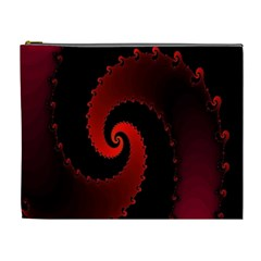Red Fractal Spiral Cosmetic Bag (xl) by Nexatart