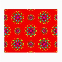 Rainbow Colors Geometric Circles Seamless Pattern On Red Background Small Glasses Cloth (2 Side)