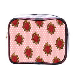 Pink Polka Dot Background With Red Roses Mini Toiletries Bags by Nexatart