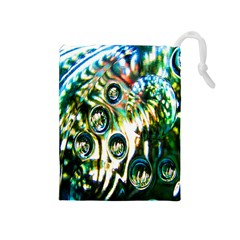 Dark Abstract Bubbles Drawstring Pouches (Medium)  by Nexatart