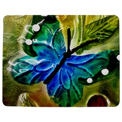 Blue Spotted Butterfly Art In Glass With White Spots Jigsaw Puzzle Photo Stand (rectangular) by Nexatart