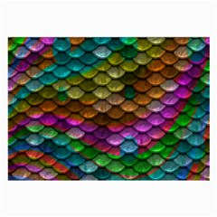 Fish Scales Pattern Background In Rainbow Colors Wallpaper Large Glasses Cloth (2 Side) by Nexatart