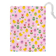 Easter - chick and tulips Drawstring Pouches (XXL) by Valentinaart