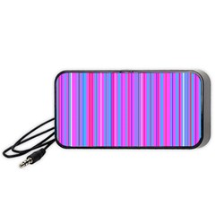 Blue And Pink Stripes Portable Speaker (black)
