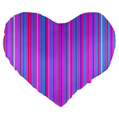 Blue And Pink Stripes Large 19  Premium Flano Heart Shape Cushions by Nexatart