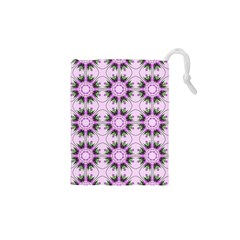 Pretty Pink Floral Purple Seamless Wallpaper Background Drawstring Pouches (XS)  by Nexatart