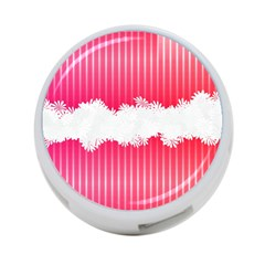 Digitally Designed Pink Stripe Background With Flowers And White Copyspace 4-Port USB Hub (Two Sides)  by Nexatart