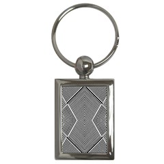Black And White Line Abstract Key Chains (rectangle)  by Nexatart