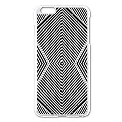 Black And White Line Abstract Apple Iphone 6 Plus/6s Plus Enamel White Case by Nexatart