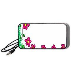Floral Doodle Flower Border Cartoon Portable Speaker (black)