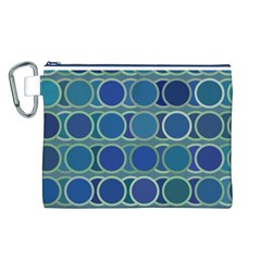 Circles Abstract Blue Pattern Canvas Cosmetic Bag (l) by Nexatart