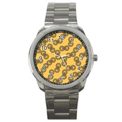 Abstract Shapes Links Design Sport Metal Watch