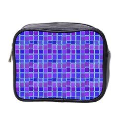 Background Mosaic Purple Blue Mini Toiletries Bag 2-Side by Nexatart