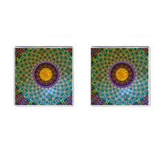 Temple Abstract Ceiling Chinese Cufflinks (Square) by Nexatart