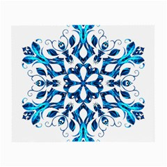 Blue Snowflake On Black Background Small Glasses Cloth (2 Side) by Nexatart