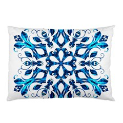 Blue Snowflake On Black Background Pillow Case (two Sides) by Nexatart