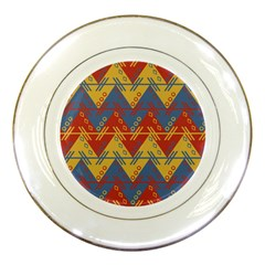 Aztec South American Pattern Zig Zag Porcelain Plates by Nexatart