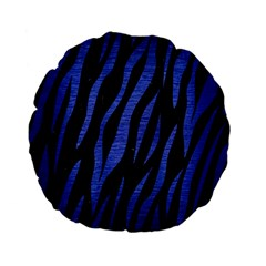 Skin3 Black Marble & Blue Brushed Metal Standard 15  Premium Flano Round Cushion  by trendistuff