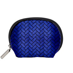 Brick2 Black Marble & Blue Brushed Metal (r) Accessory Pouch (small) by trendistuff