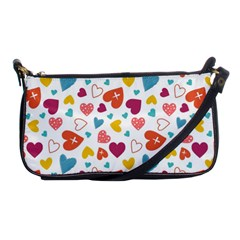 Colorful Bright Hearts Pattern Shoulder Clutch Bags by TastefulDesigns