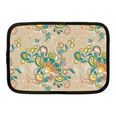 Hand Drawn Batik Floral Pattern Netbook Case (medium)