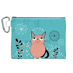 Cat Face Mask Smile Cute Leaf Flower Floral Canvas Cosmetic Bag (xl) by Mariart