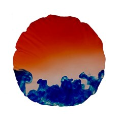 Simulate Weather Fronts Smoke Blue Orange Standard 15  Premium Flano Round Cushions by Mariart