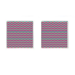 Retro Pattern Zig Zag Cufflinks (Square) by Nexatart