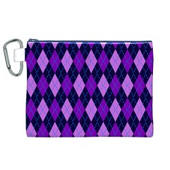 Static Argyle Pattern Blue Purple Canvas Cosmetic Bag (xl) by Nexatart