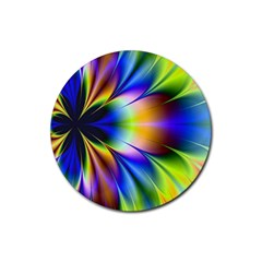 Bright Flower Fractal Star Floral Rainbow Rubber Round Coaster (4 Pack)  by Mariart