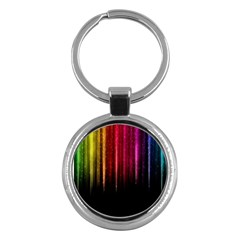 Rain Color Rainbow Line Light Green Red Blue Gold Key Chains (round)  by Mariart