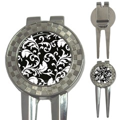 Black And White Floral Patterns 3-in-1 Golf Divots by Nexatart