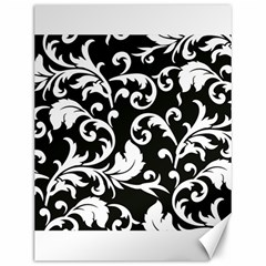 Black And White Floral Patterns Canvas 12  x 16   by Nexatart