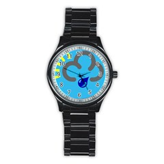 Light Rain Shower Cloud Sun Yellow Blue Sky Stainless Steel Round Watch by Mariart