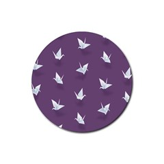 Goose Swan Animals Birl Origami Papper White Purple Rubber Round Coaster (4 Pack)  by Mariart