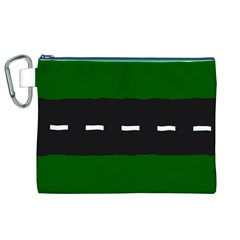 Road Street Green Black White Line Canvas Cosmetic Bag (xl) by Mariart