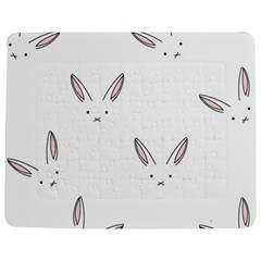 Bunny Line Rabbit Face Animals White Pink Jigsaw Puzzle Photo Stand (rectangular) by Mariart