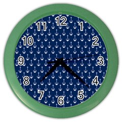 Blue White Anchor Color Wall Clocks by Mariart