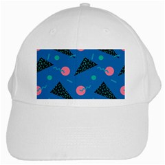 Seamless Triangle Circle Blue Waves Pink White Cap by Mariart