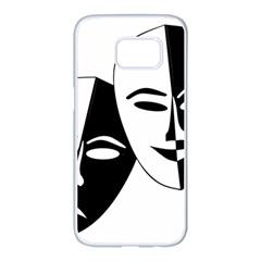 Theatermasken Masks Theater Happy Samsung Galaxy S7 Edge White Seamless Case