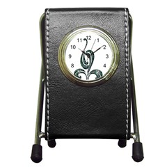 Scroll Retro Design Texture Pen Holder Desk Clocks by Nexatart