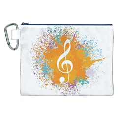 Musical Notes Canvas Cosmetic Bag (XXL) by Mariart