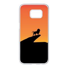 Lion Sunset Wildlife Animals King Samsung Galaxy S7 Edge White Seamless Case