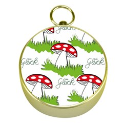 Mushroom Luck Fly Agaric Lucky Guy Gold Compasses by Nexatart