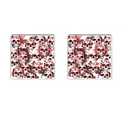 Cloudy Skulls White Red Cufflinks (Square) by MoreColorsinLife