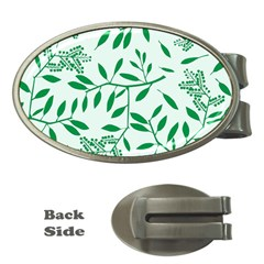 Leaves Foliage Green Wallpaper Money Clips (oval)  by Nexatart