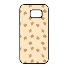 Pattern Gingerbread Star Samsung Galaxy S7 Edge Black Seamless Case by Nexatart