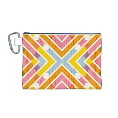 Line Pattern Cross Print Repeat Canvas Cosmetic Bag (M) by Nexatart